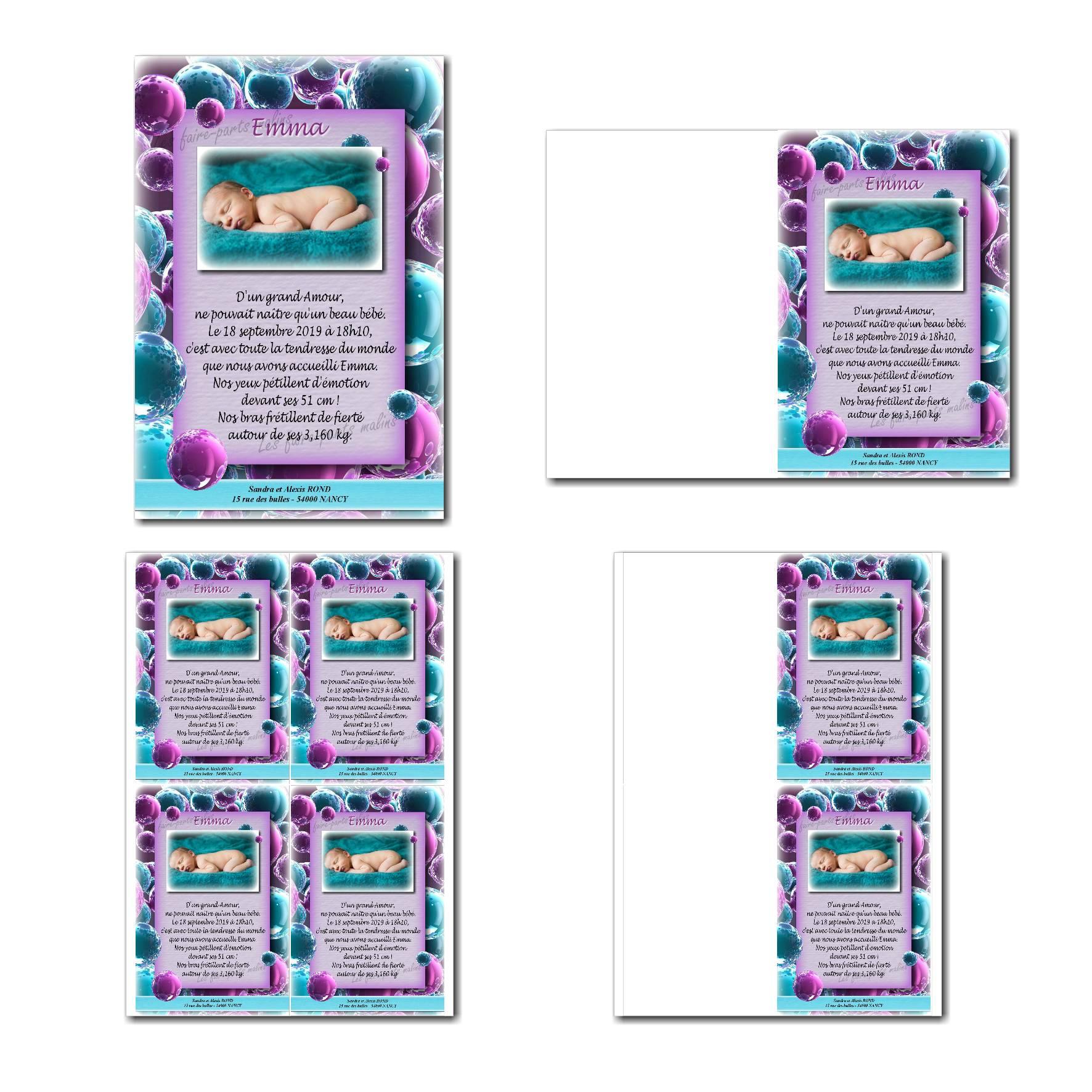 faire-part à imprimer bulles violet et bleu