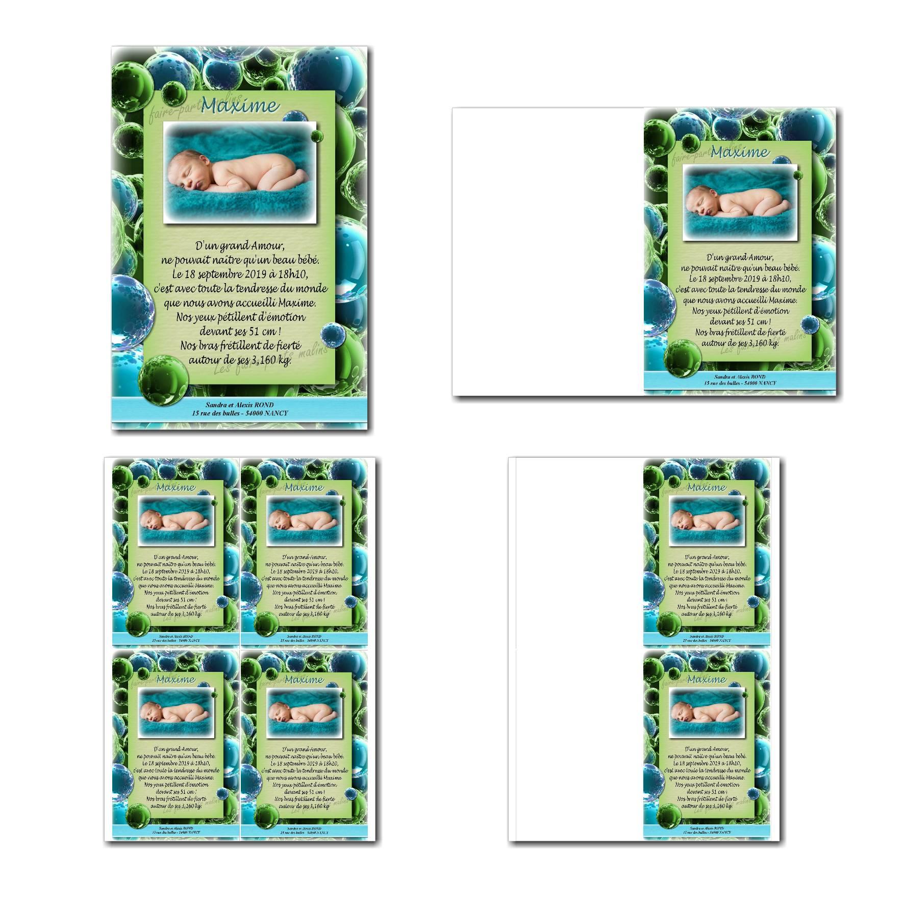faire-part à imprimer bulle bleu et vert