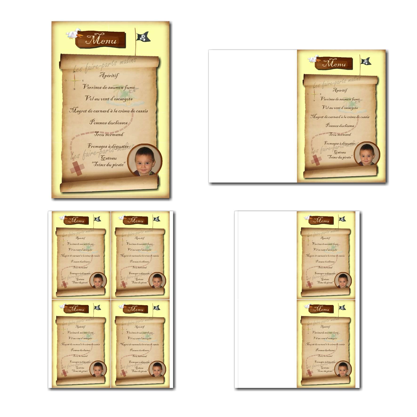 Carte de menu prêt à imprimer en jaune avec parchemin et carte au trésor de pirate