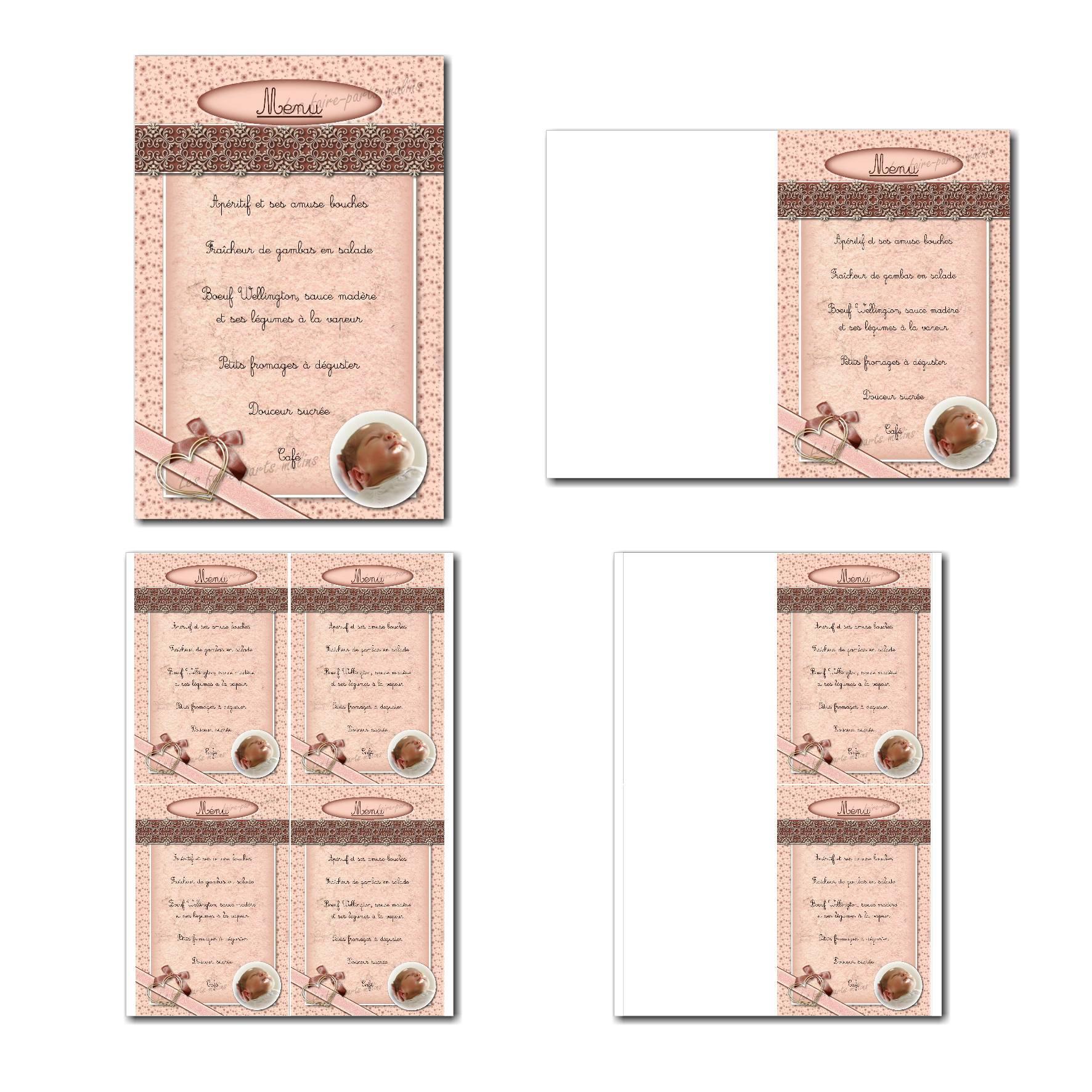 carte de menu prêt à imprimer romantique pour fille