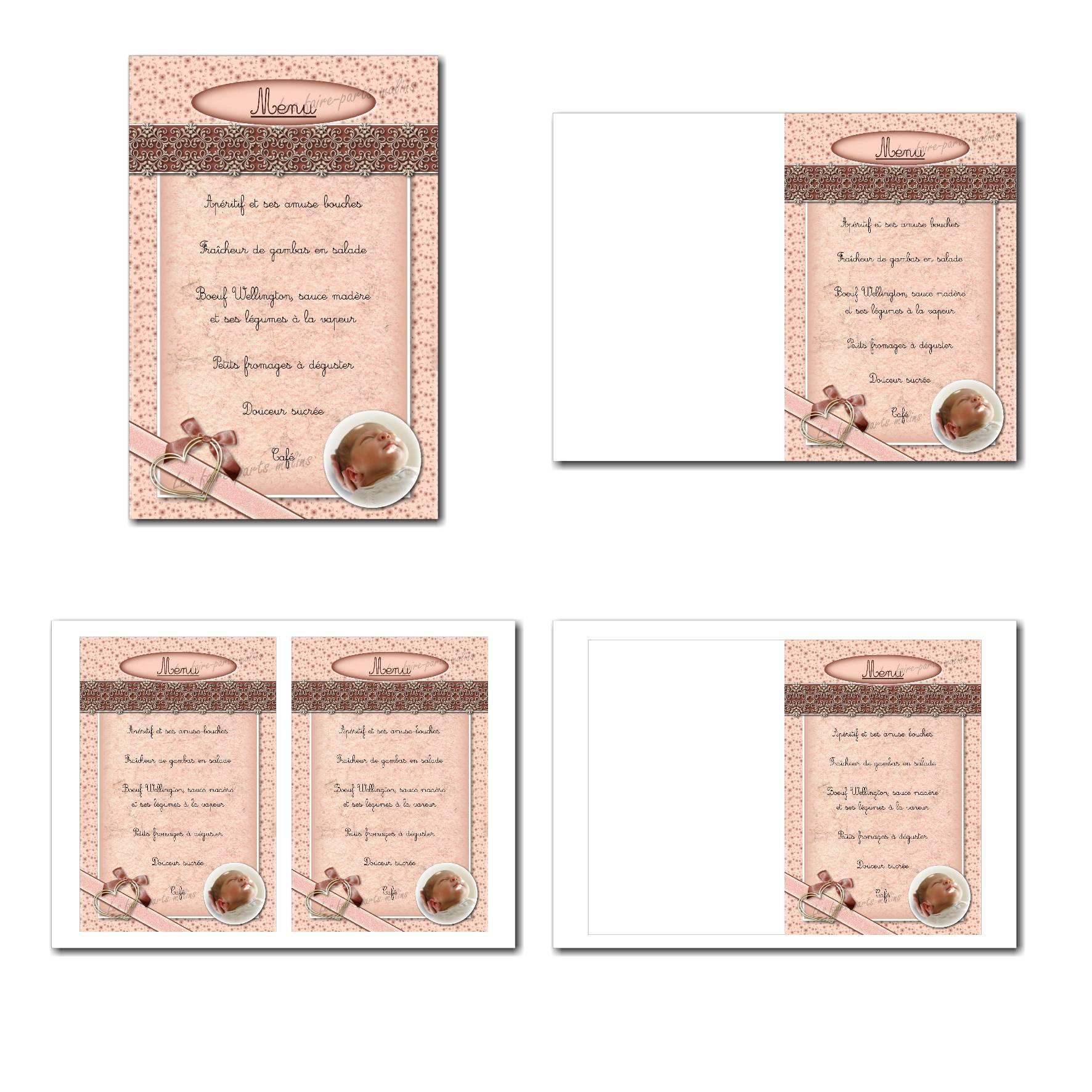 carte de menu illimité ruban et coeur en vieux rose et beige