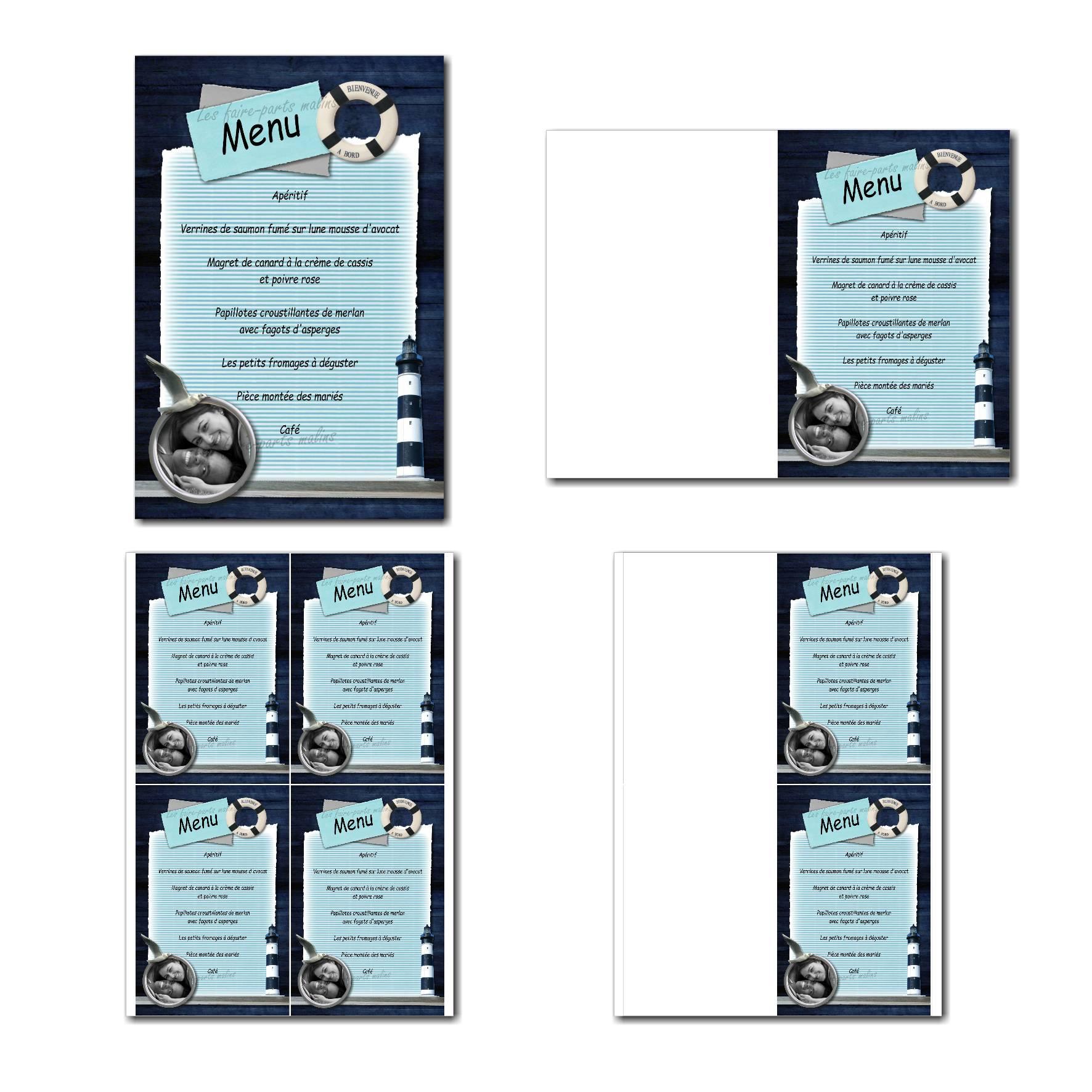 Carte de menu à imprimer hublot photo en bleu marine