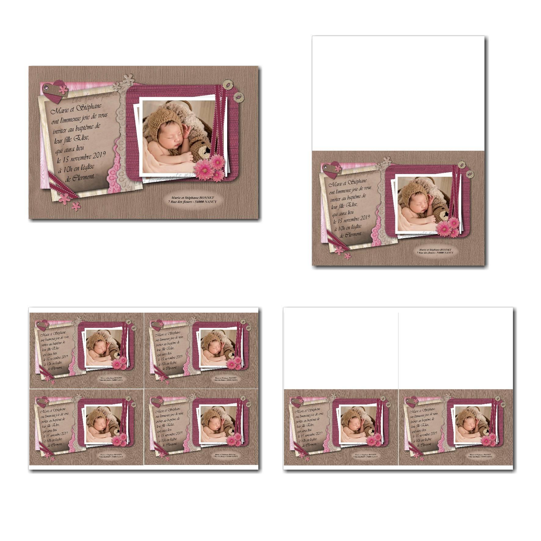 faire-part à imprimer romantique ruban de dentelles