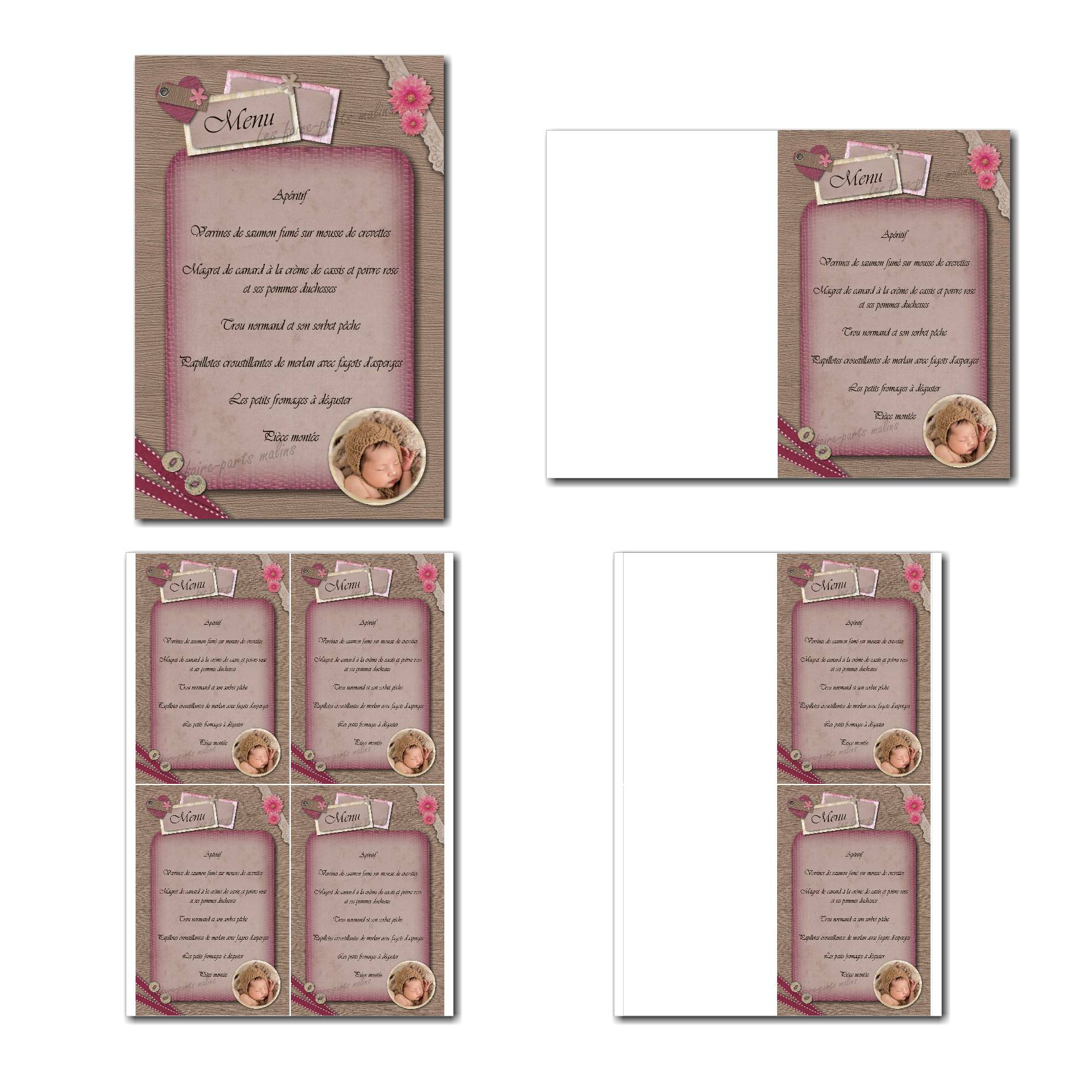 carte de menu prêt à imprimer ruban et bouton montage photo
