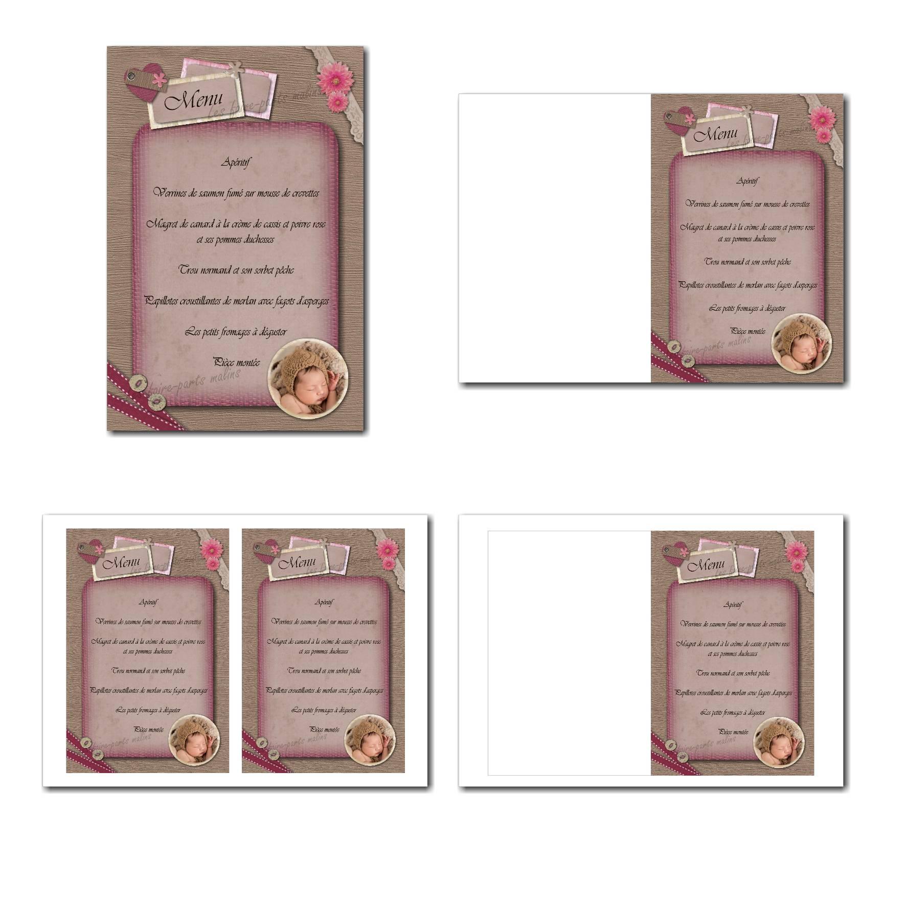 carte de menu illimité marron et vieux rose avec ruban