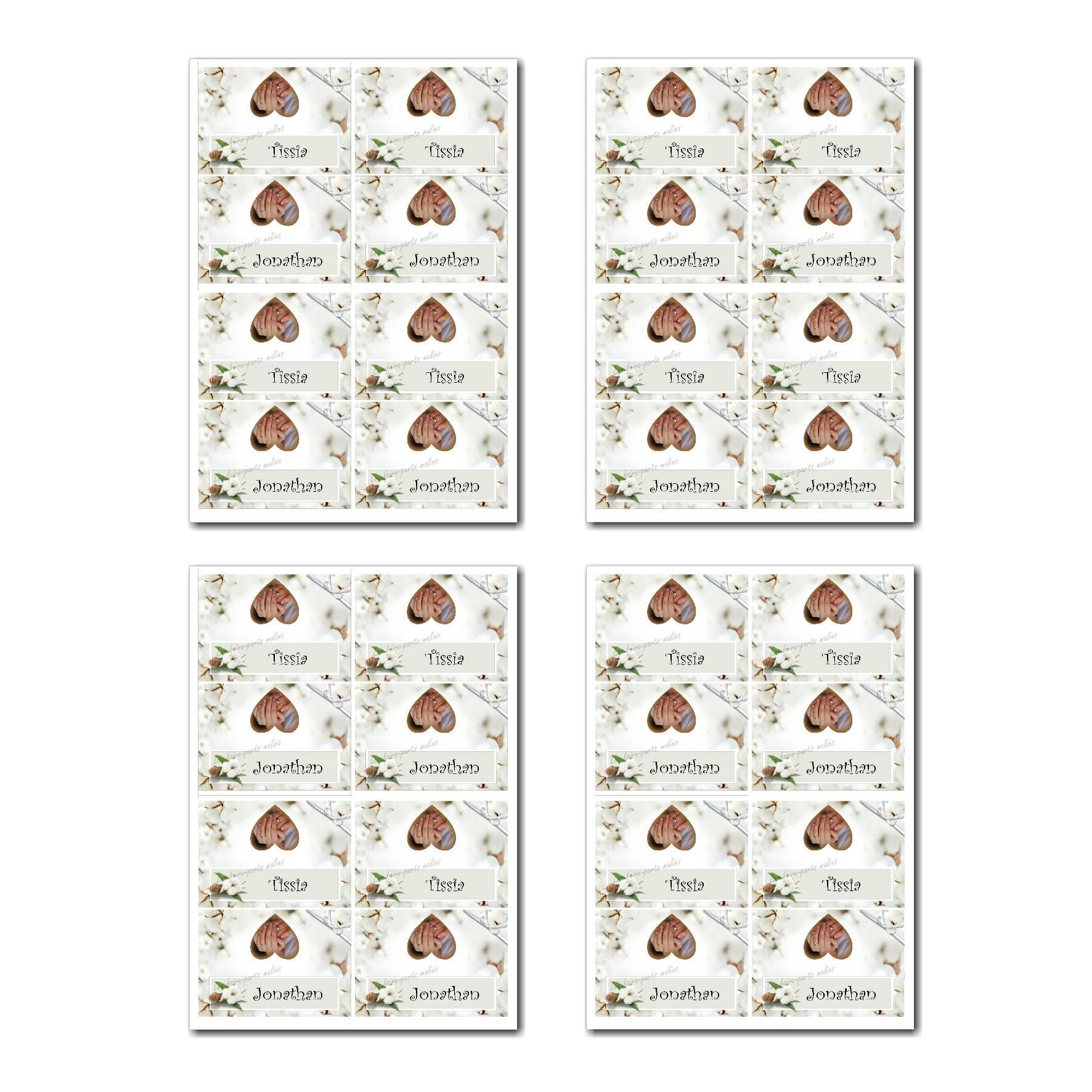 Marque-places prêt à imprimer avec fleur de coton