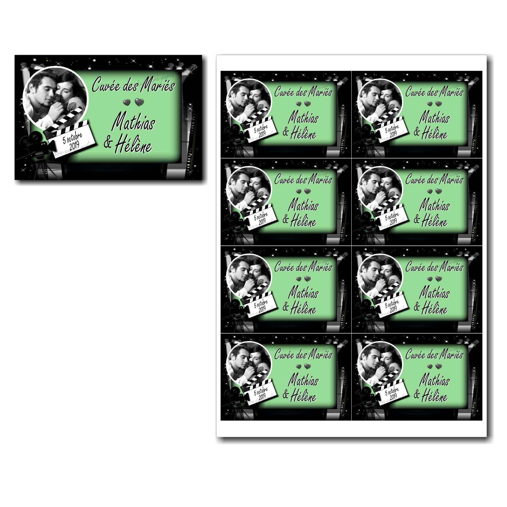 Pai 52 mariage vert etiquettes bouteille