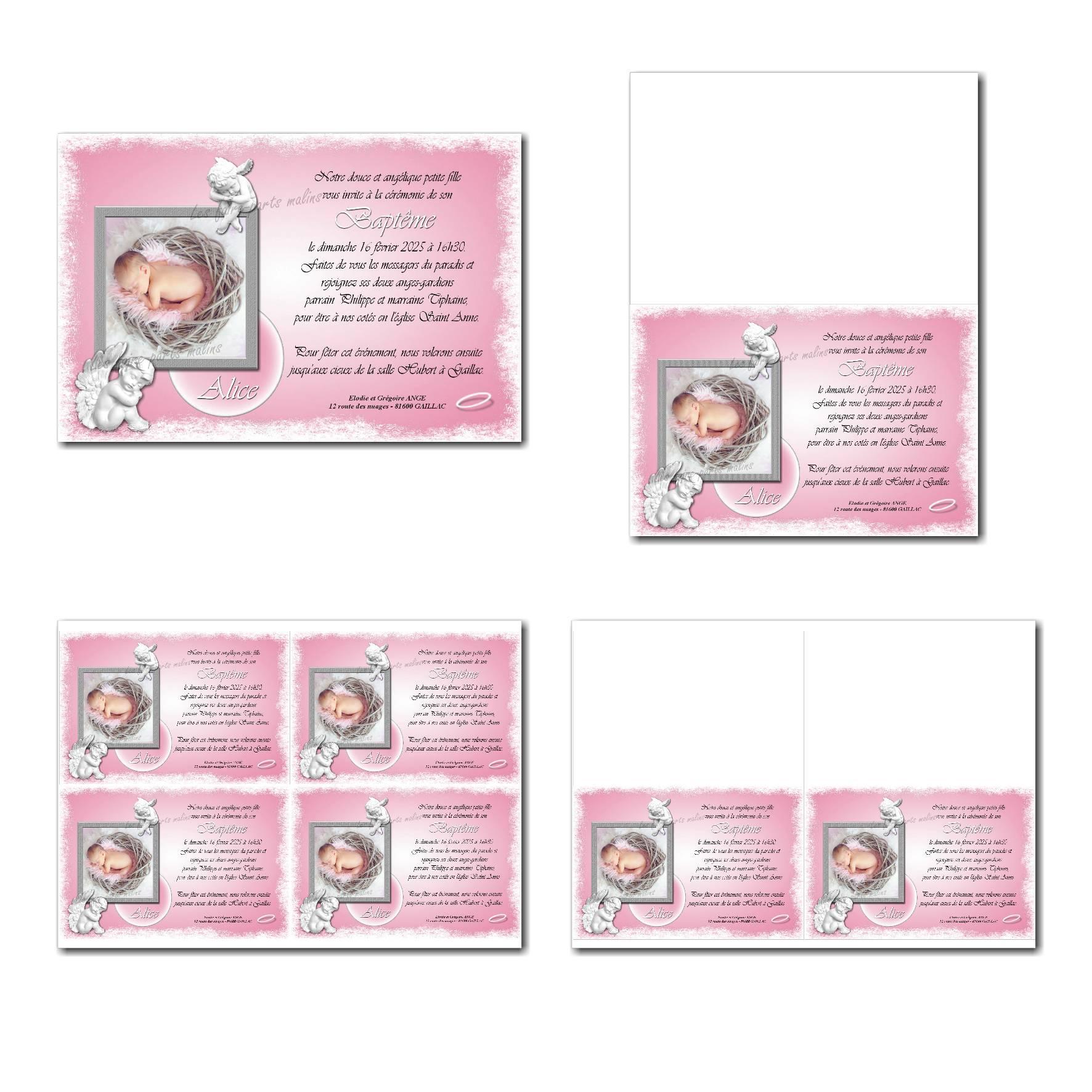 faire-part à imprimer ange en rose et blanc