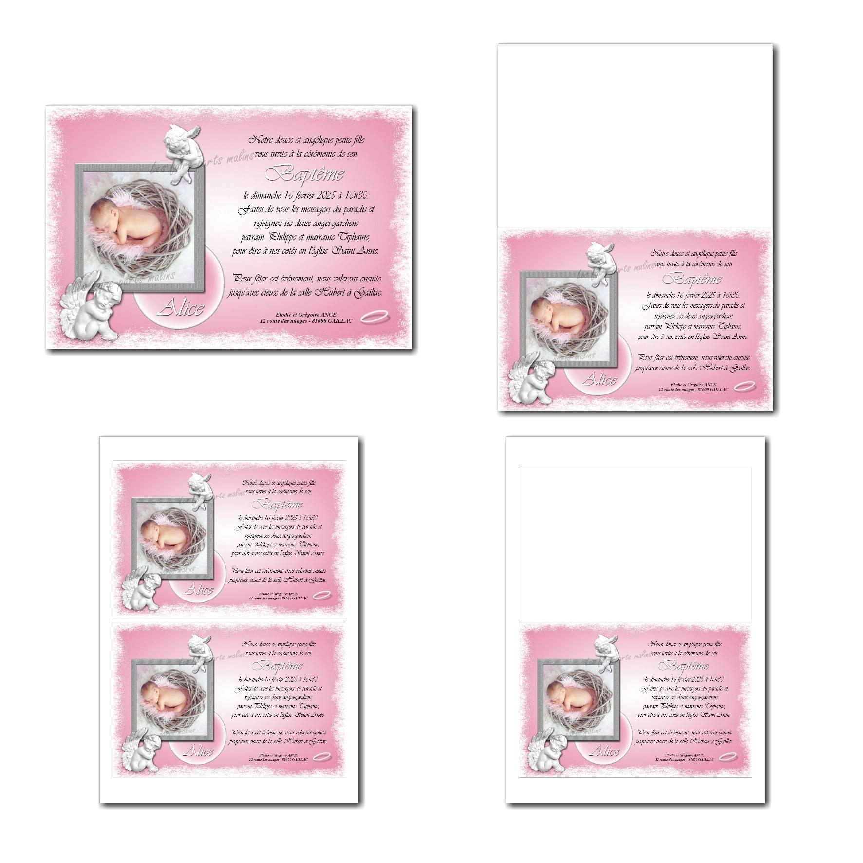 faire-part illimité petit ange rose et blanc
