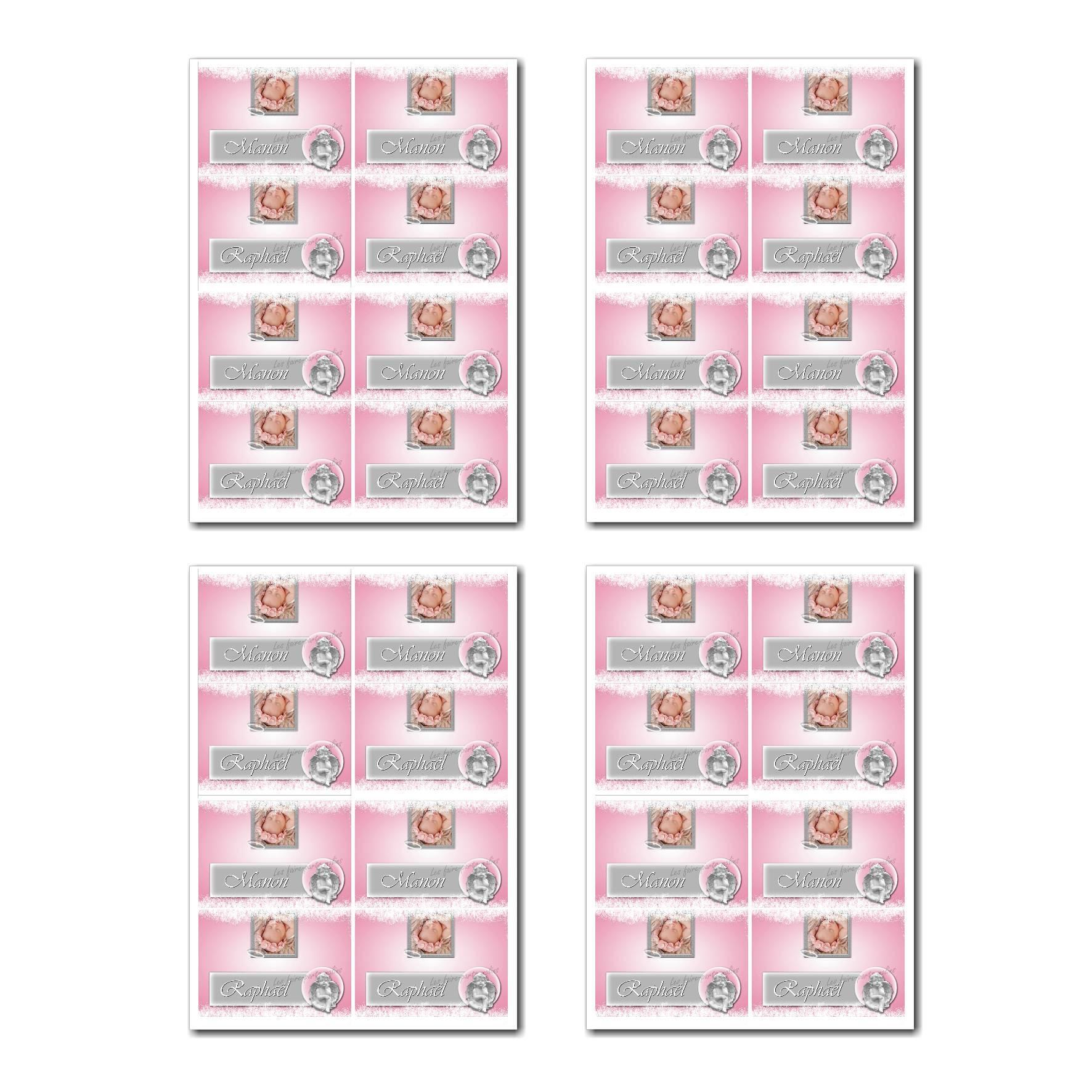 Marque-places prêt à imprimer ange sur fond rose