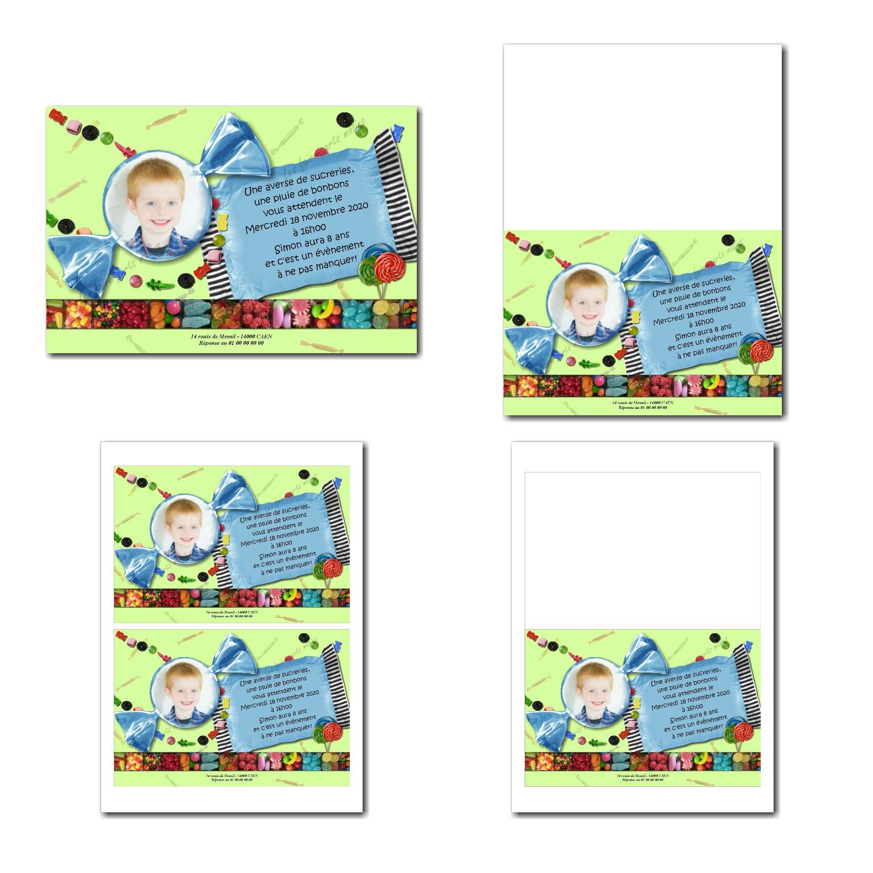 faire-part illimité avec photo dans bonbon bleu sur fond vert