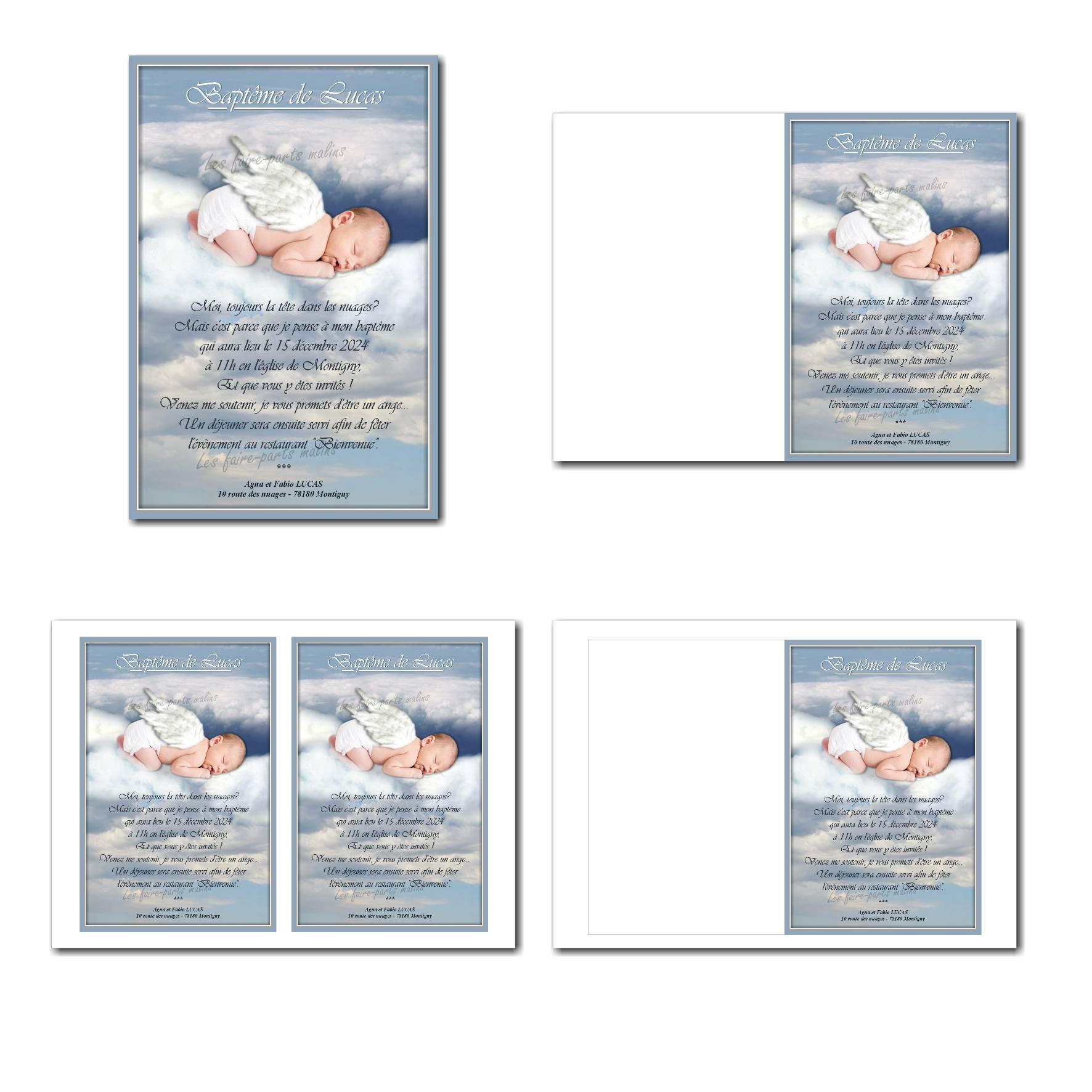 Faire-part illimité avec votre bébé en ange dans les nuages