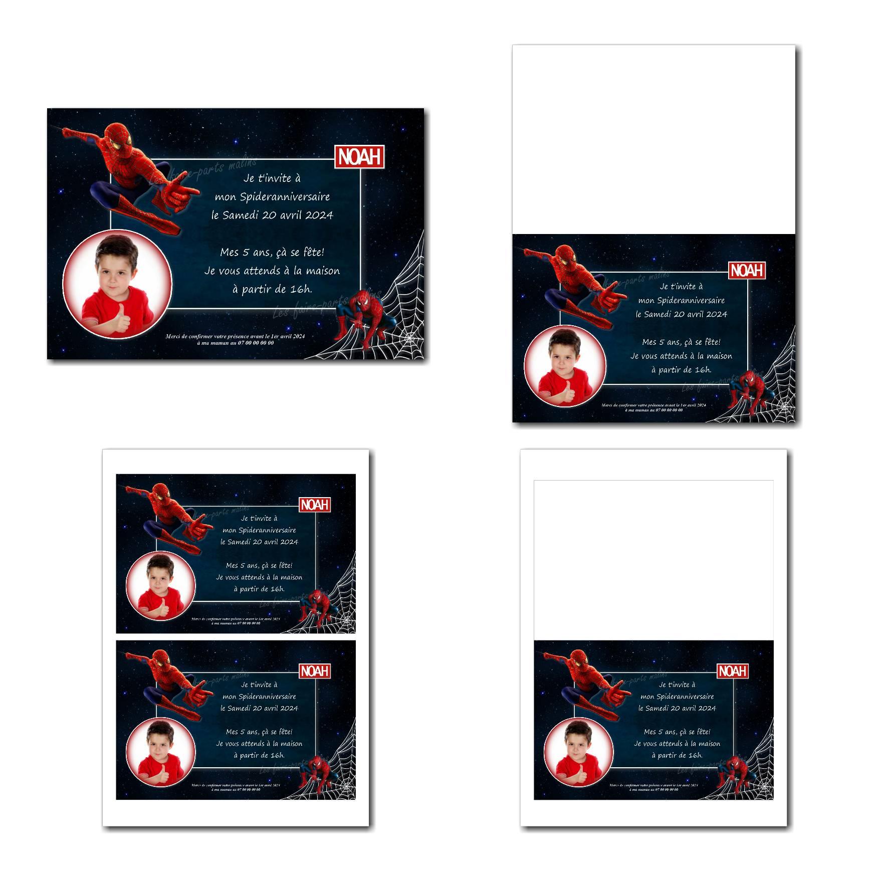 faire-part illimité spiderman rouge sur fond bleu nuit