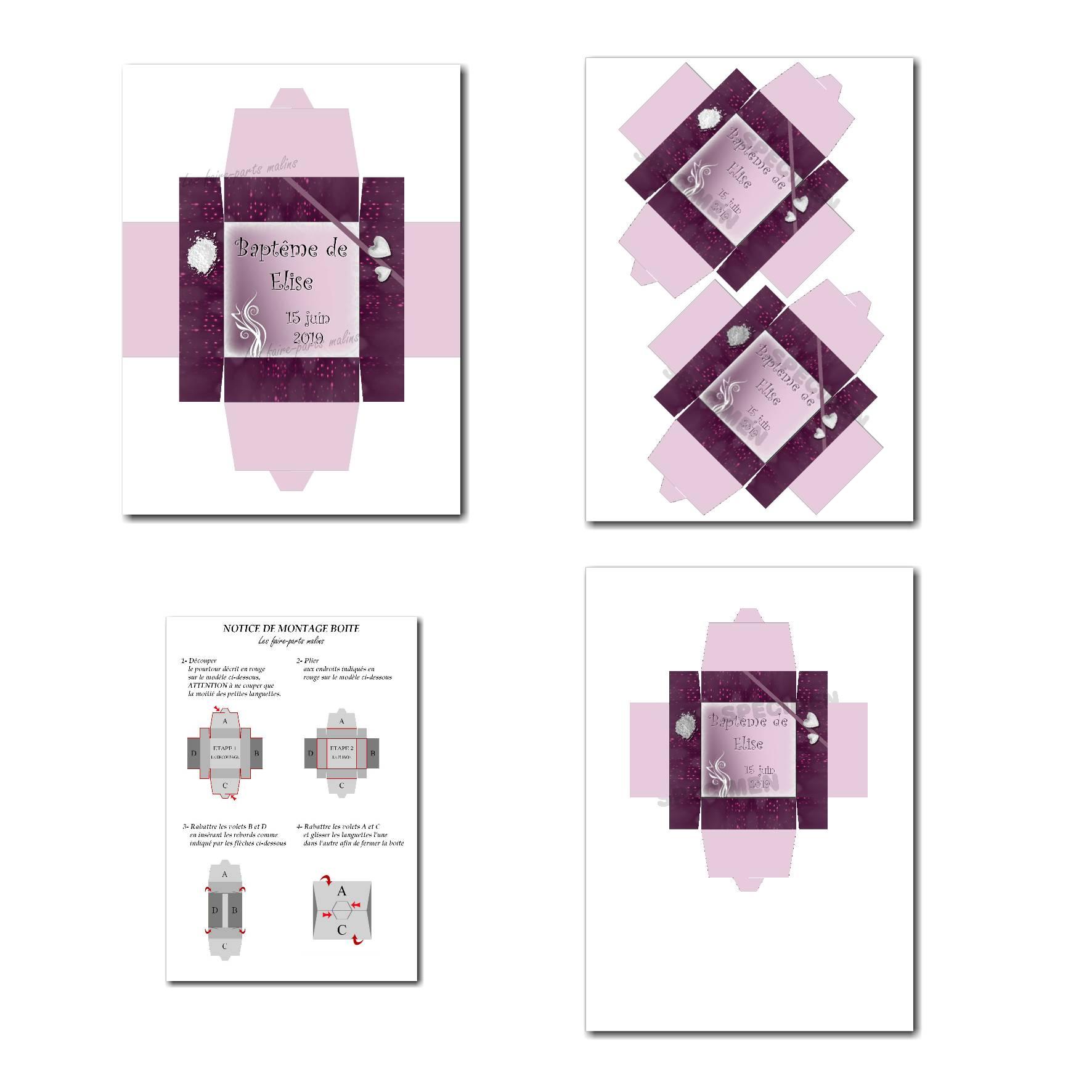 Boite à imprimer violet et blanc