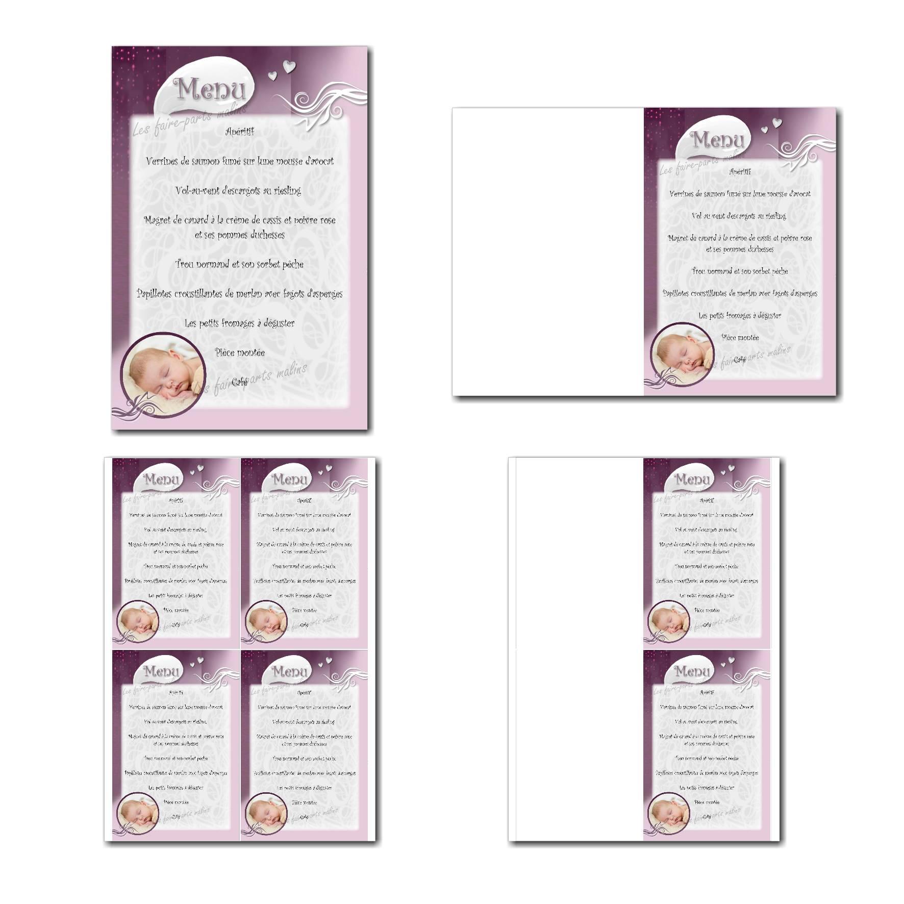 carte de menu prêt à imprimer violet et blanc