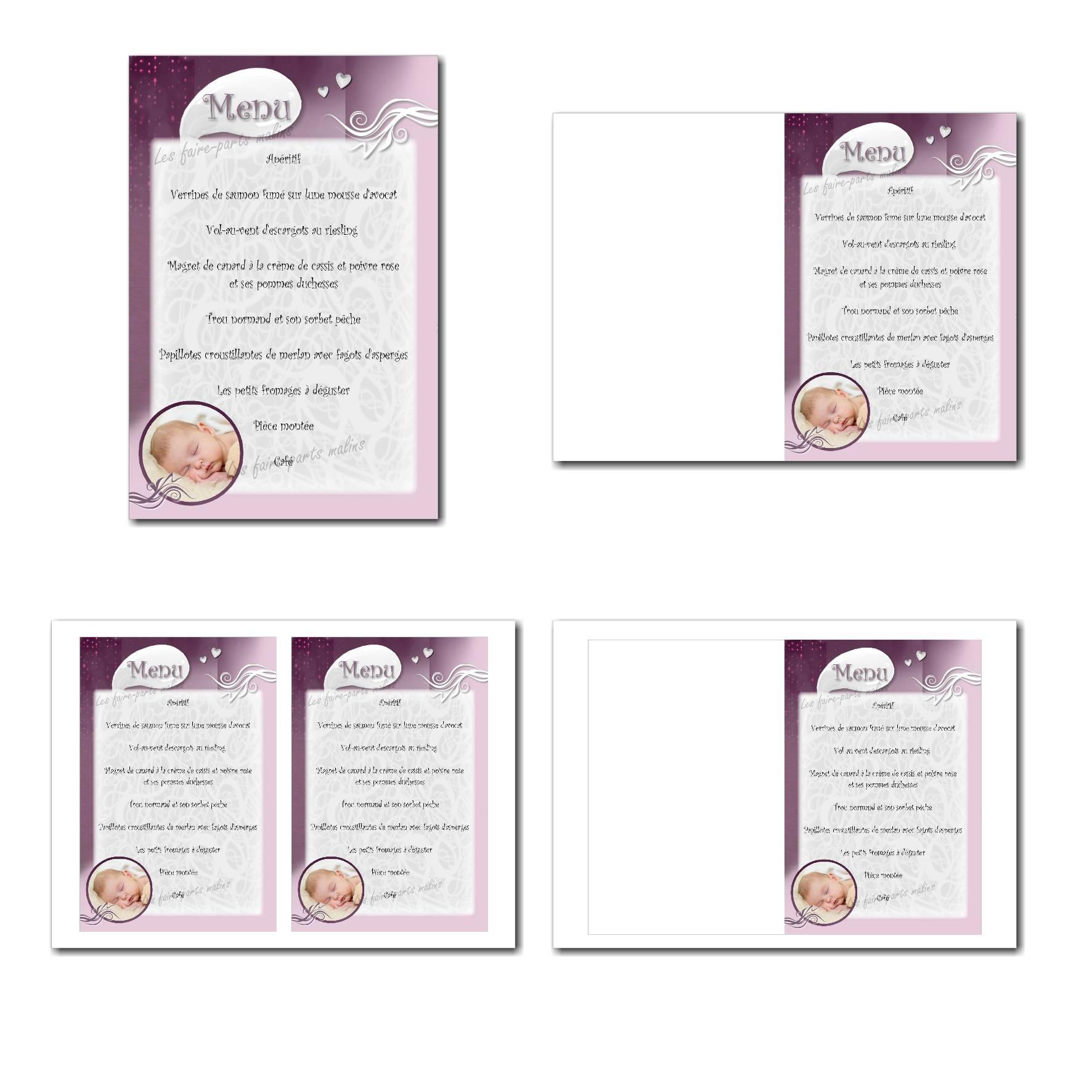 carte de menu illimité en violet et blanc pour fille