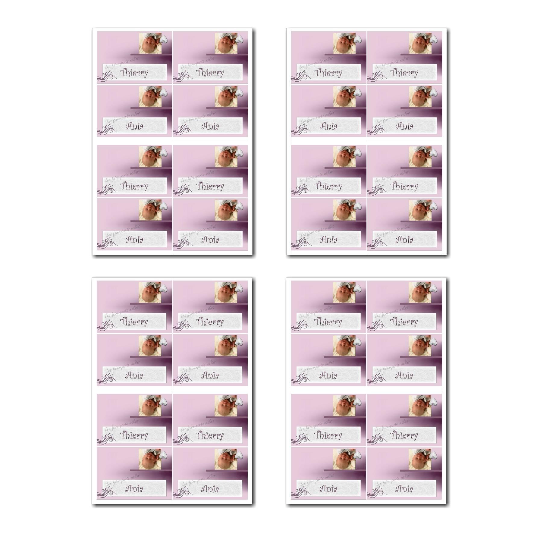 Marque-places prêt à imprimer violet et blanc