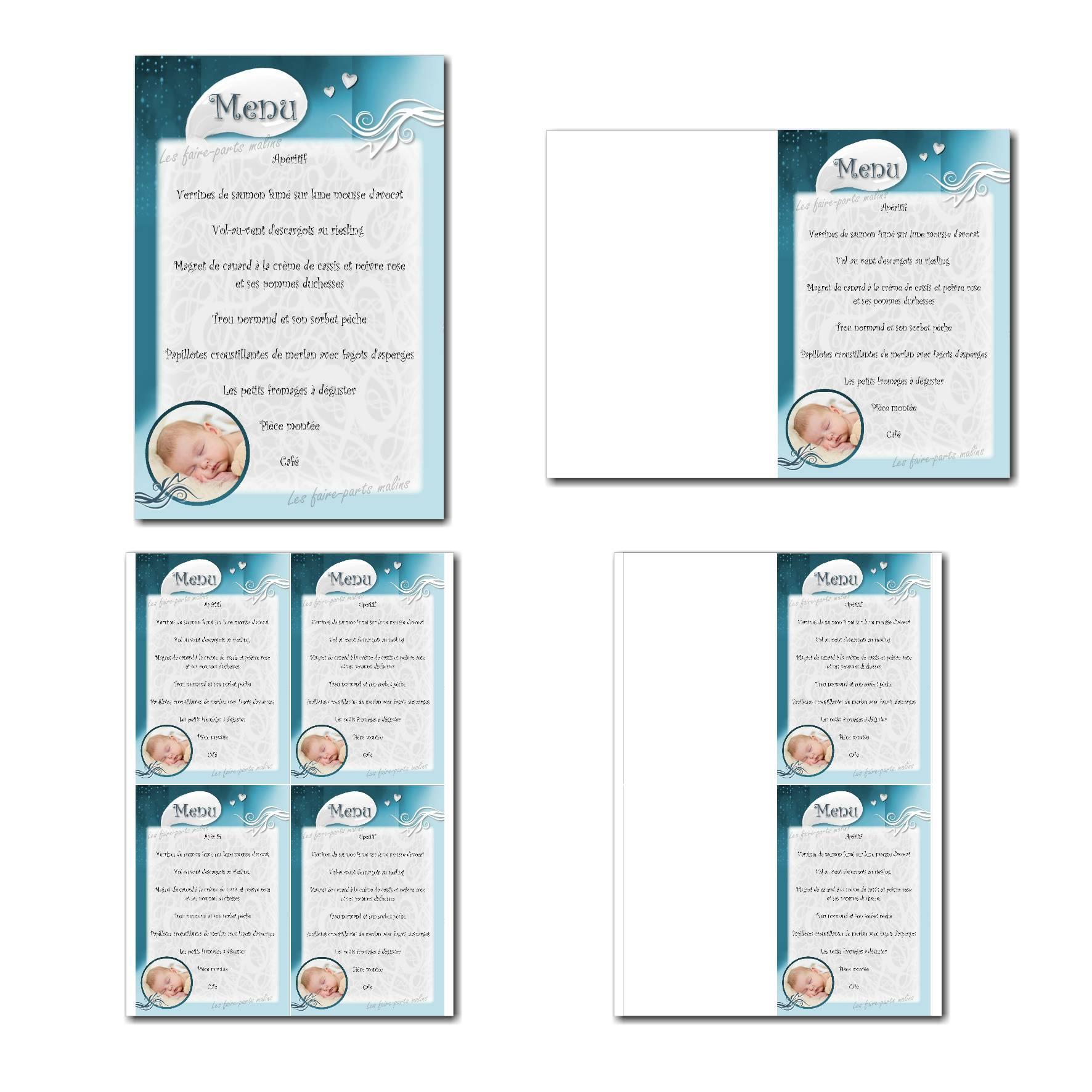 Carte de menu prêt à imprimer bleu et blanc avec photo