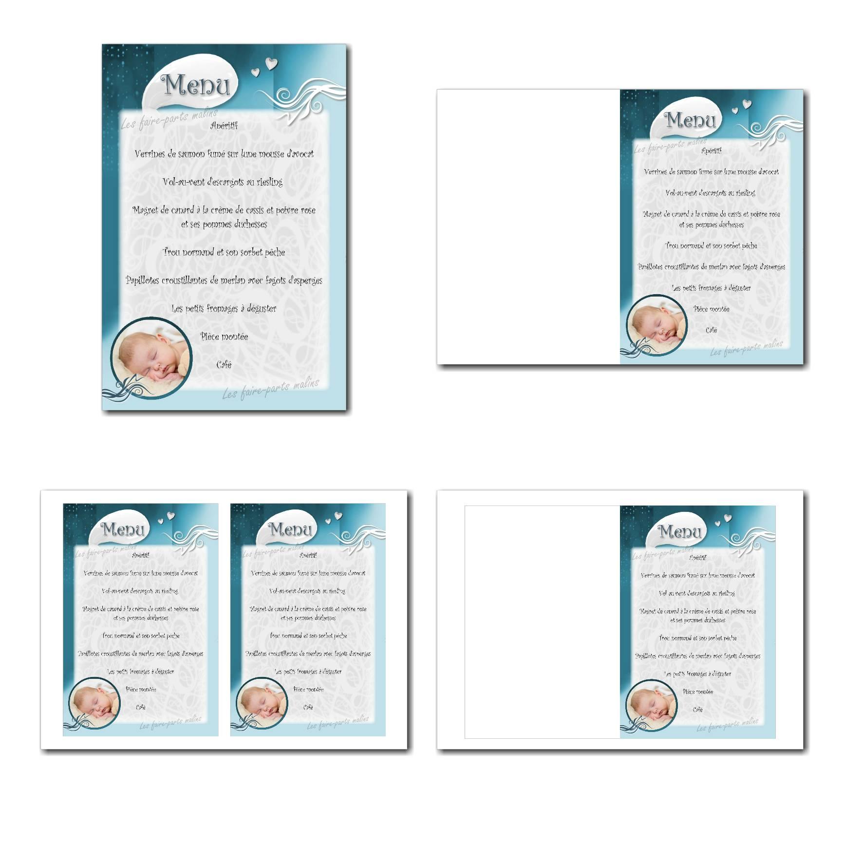 Carte de menu illimité bleu et blanc pour garçon avec photo