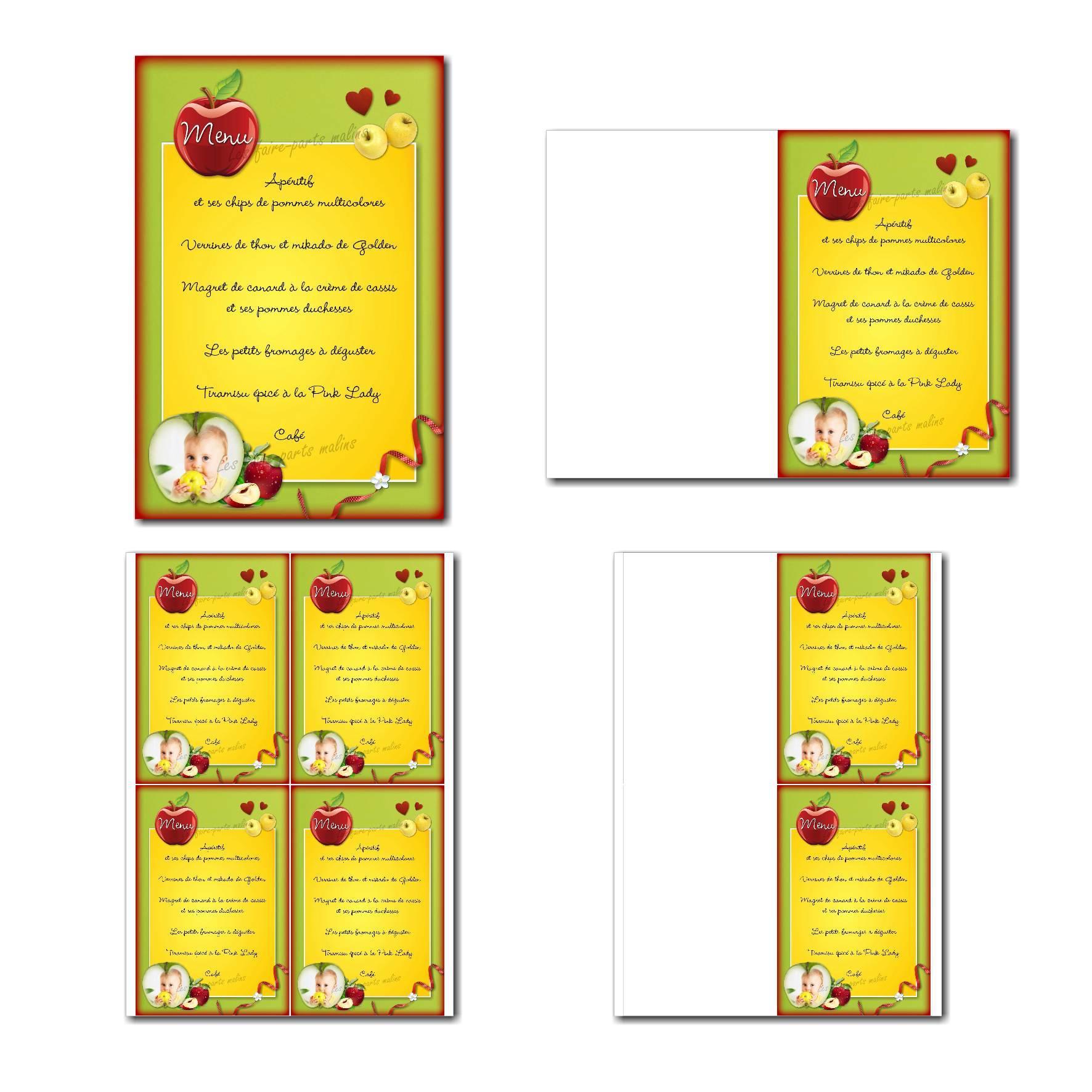Menu à imprimer avec jolies pommes mûres