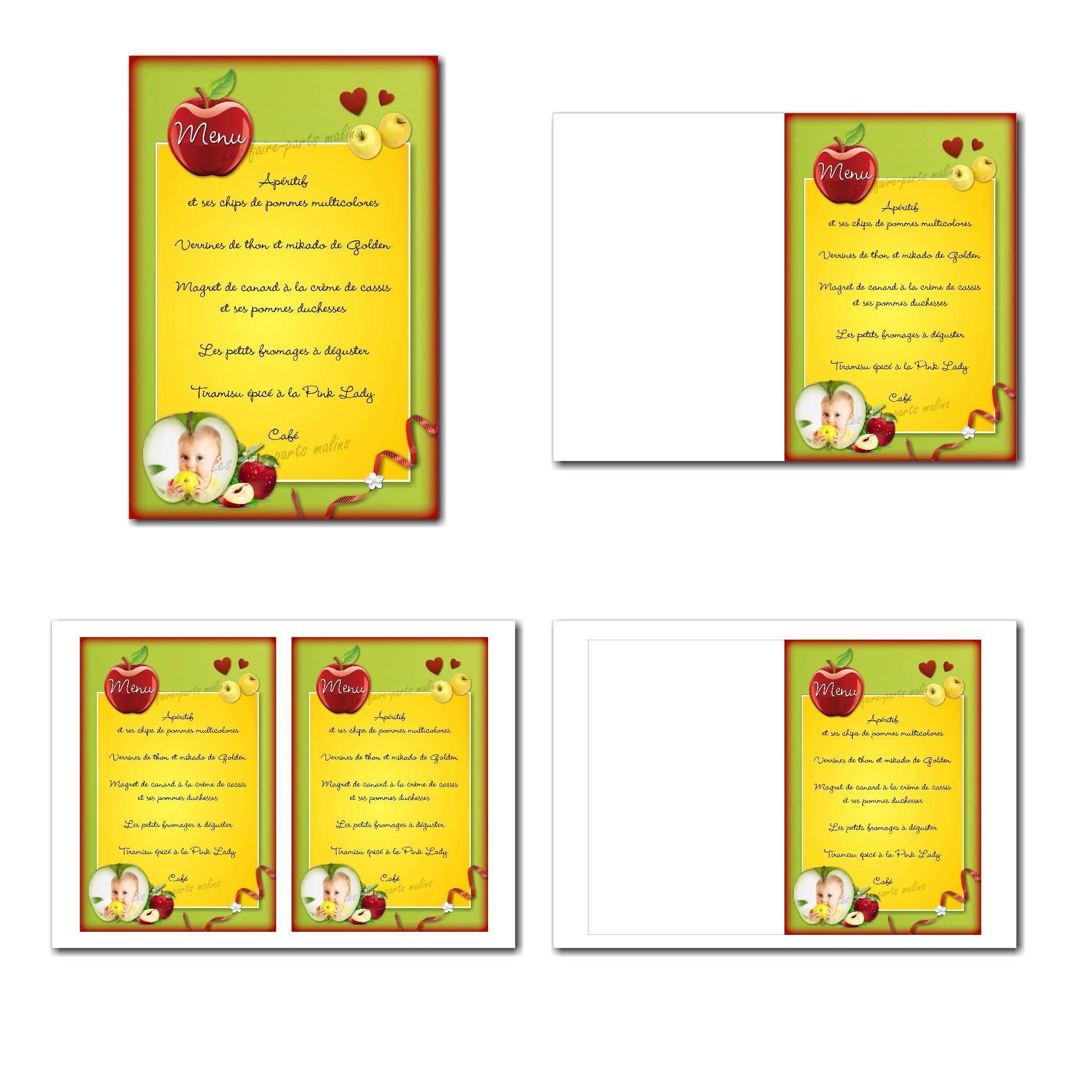 Carte de menu illimité thème des pommes