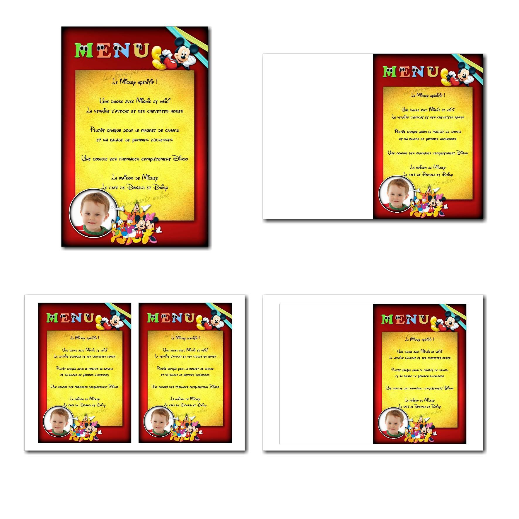 Carte de menu illimité mickey mousse