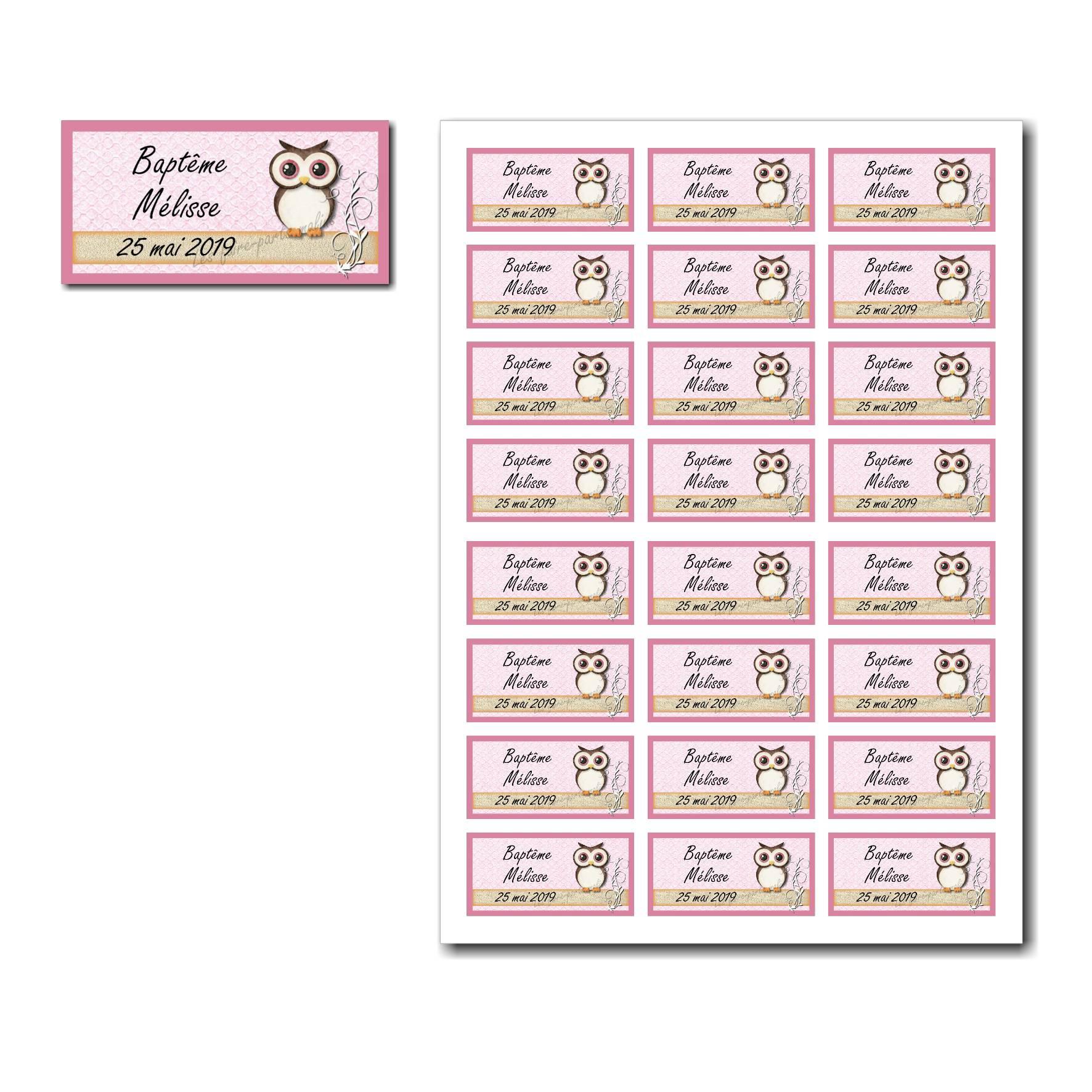 Etiquette dragées à imprimer hibou sur fond rose