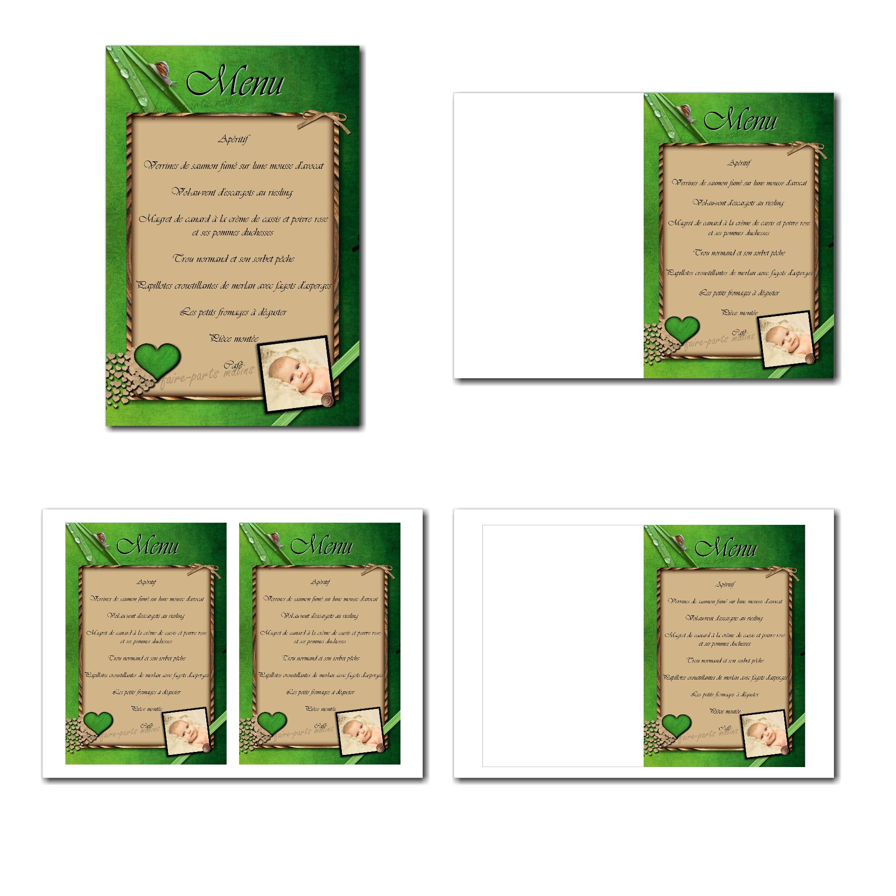 Carte de menu illimité avec petits coeur et escargot sur fond nature
