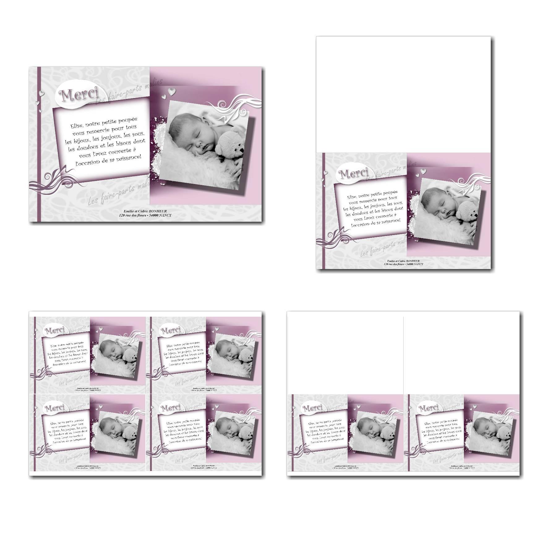 Carte de remerciements prêt à imprimer blanc et violet