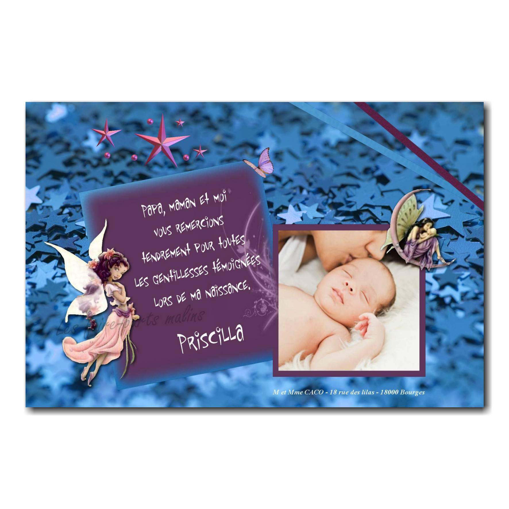 carte de remerciements fée violet et bleu